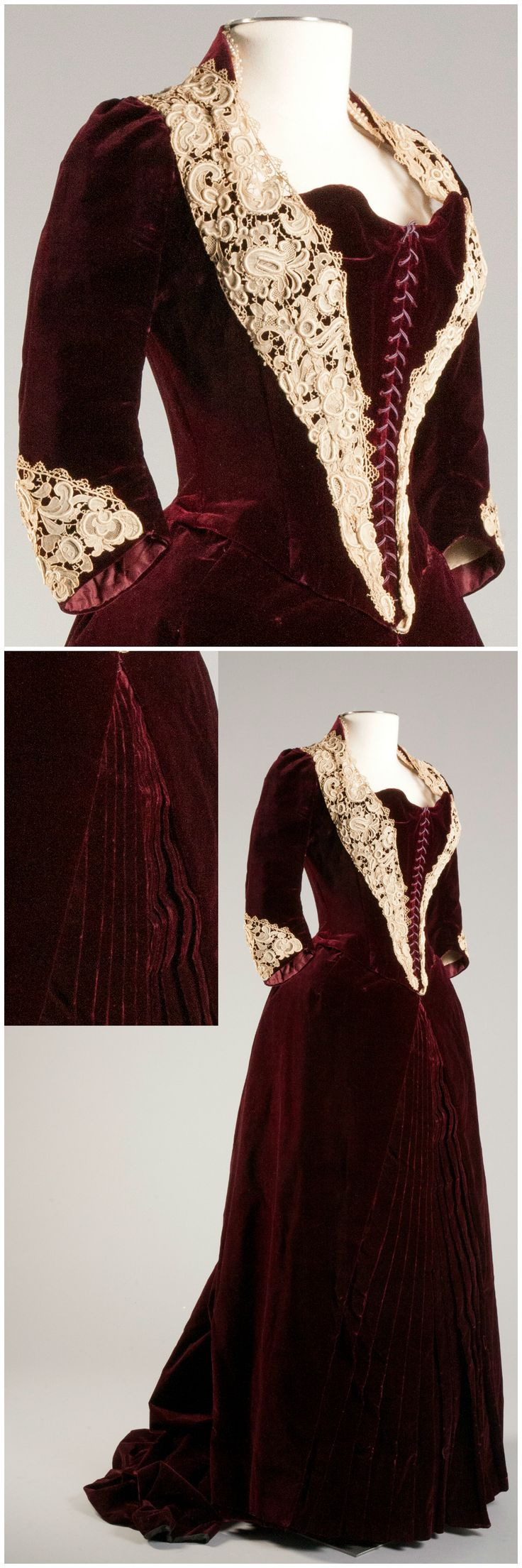 French dinner dress, 1880s, Robert and Penny Fox Historic Costume Collection at Drexel University. Photo by Michael J. Shepherd, via Broad Street Review. CLICK THROUGH FOR LARGER IMAGES.