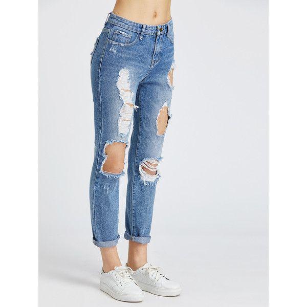 SheIn(sheinside) Bleach Wash Distressed Jeans ($21) ❤ liked on Polyvore featuring jeans, zipper jeans, low waist jeans, zip jeans, long jeans and destroyed jeans