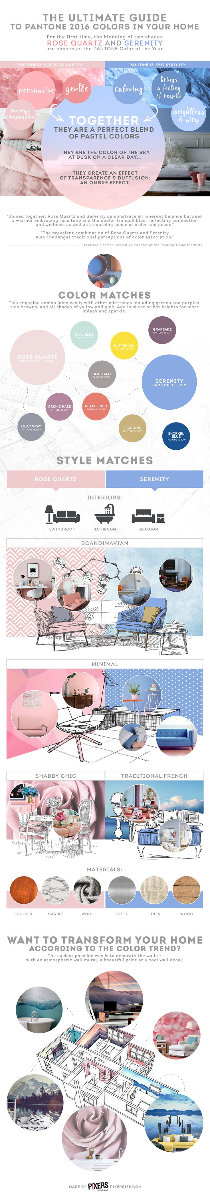 Infographic: The Ultimate Guide To Decorate Your Home With PANTONE's 2016 Colors - DesignTAXI.com