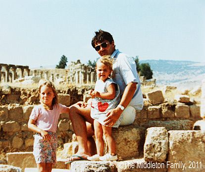 Kate Middletons Childhood Album: World TravelerMiddleton (seen here in Jersash, Jordan, with her father, Michael, and sister, Pippa) lived in Amman, Jordan for nearly three years