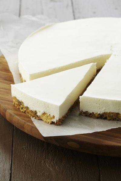 Recepten - Plattekaastaartje met pistache en limoncello (suiker vervangen door honing oid)