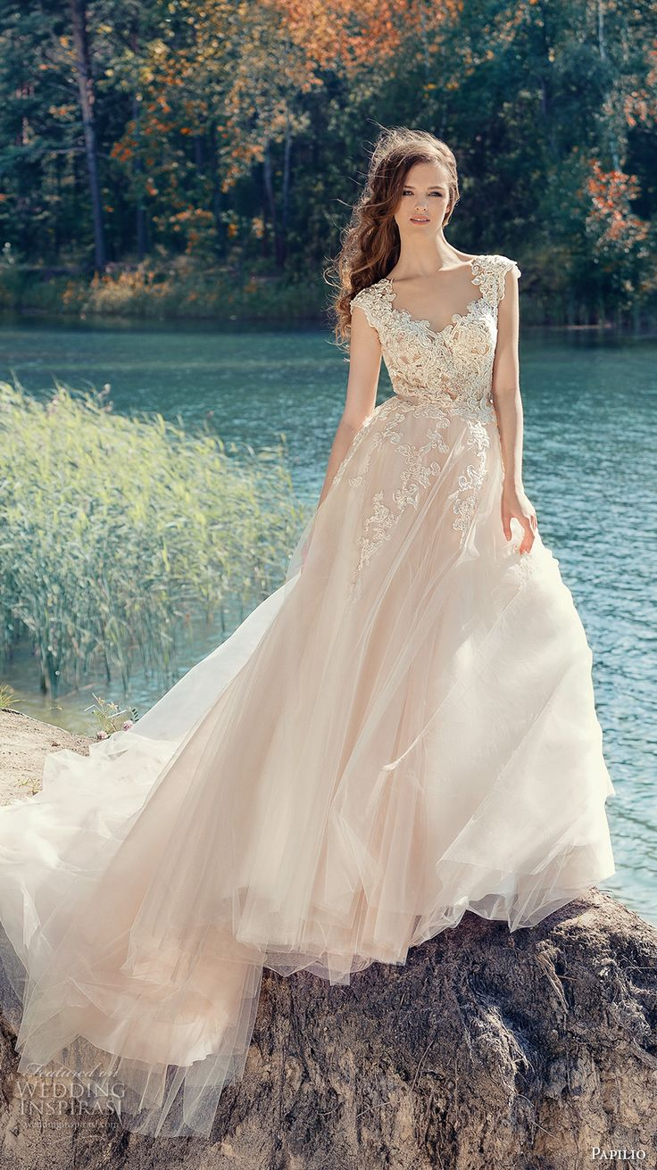 papilio 2017 bridal cap sleeves v neck heavily embellished bodice tulle skirt romantic blush color a  line wedding dress open low v back royal train (hornbill) mv
