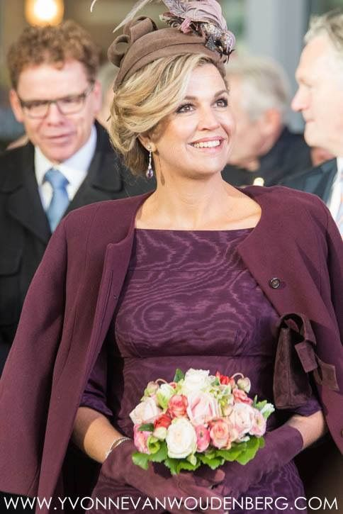 30 November 2016 - Queen Mathilde and King Filip of Belgium's state visit to The Netherlands (day 3) - dress by Natan