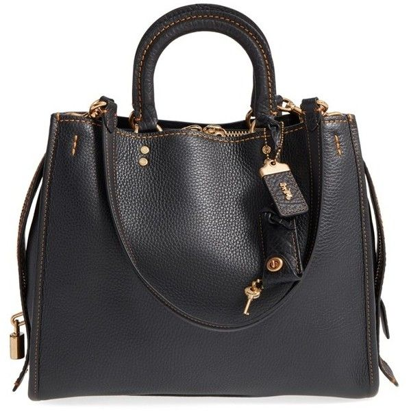 COACH 1941 'Rogue' Leather Satchel ($795) ❤ liked on Polyvore featuring bags, handbags, black, structured purse, genuine leather handbags, satchel purse, leather satchel handbags and real leather handbags