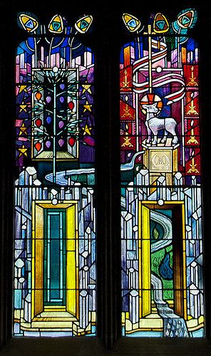 'New' stained glass at St Michael's Parish Church -- bottom center | par walla2chick