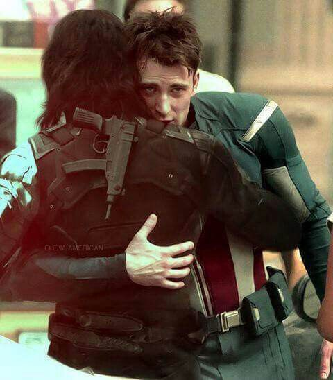 Chris Evans and Sebastian Stan on set. Hugging. <<Are we sure it's not Steve and Bucky on set, hugging?