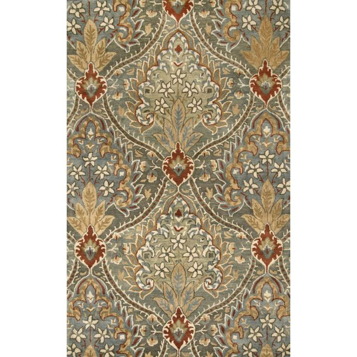 Floral Brown Woolen Hand Tufted Carpet