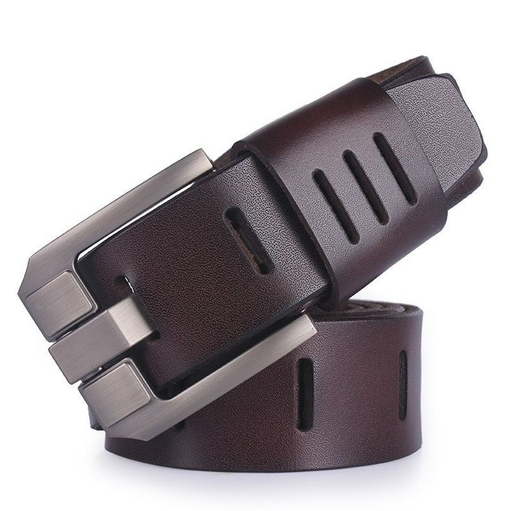 Pin Buckle Jeans Cowboy Genuine Leather Mens Belt