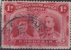 British South Africa Company, 11.11.1910, King George V., No.107, 1P carmine rose. Stamped 1,10 USD. Unused 16,46 USD.