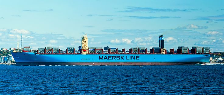 On its maiden voyage Maersk Majestic leaving Danish waters to sail to Gothenburg in Sweden