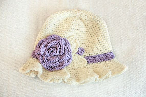 12 to 24m Crochet Sun Hat Baby Hat in Cream and Lilac - Crochet Rose Flower Hat Cloche Hat Baby Girl Baby Flapper Girl Photo Prop #baby #children #kids #kidsfashion #girlhat #babygirl #babyhat #hat #babamoon #etsy #photoprop #christmasgifts #clochehat #flowerhat #lilac #cottonhat #sunhat #rosehat