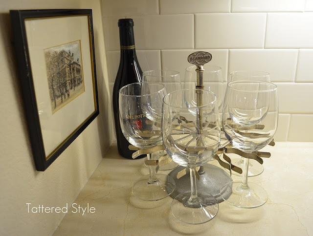 Rubber stamp holder turned wine glass holder