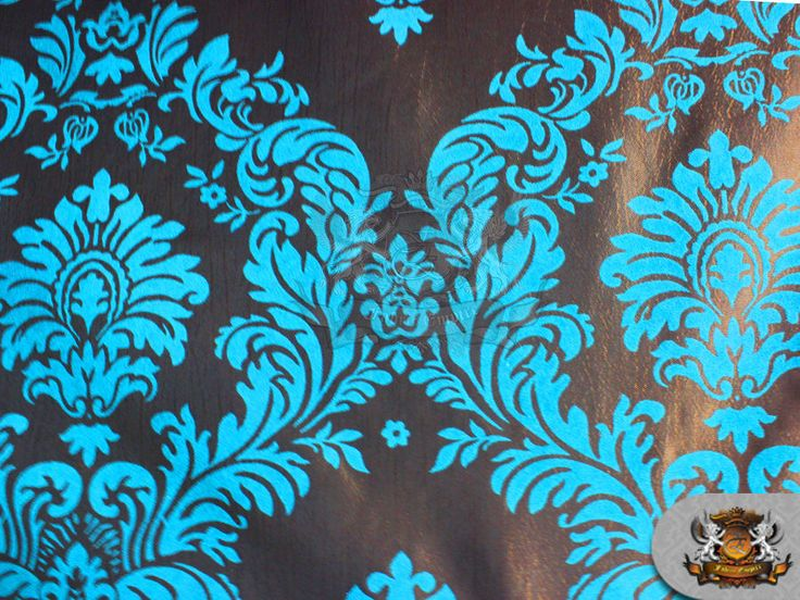 "Taffeta Damask Velvet Flocking Fabric 12 TURQUOISE / 58"" Wide / Sold by the yard"
