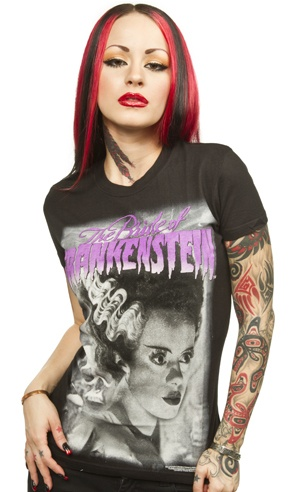 "BRIDE OF FRANKENSTEIN GIRLY T    Here's everyone's favorite bride on a great fitting tee from Rock Rebel & Universal! This girly tee features the bride herself in gray tones in the center with ""The Bride of Frankenstein"" printed above her head in purple. 100% Cotton.  Rock Rebel Size Chart    S 32"" bust    M 34"" bust    L 36"" bust    XL 38"" bust    $25.00Frankenstein Girly, Natural Skin Care, Tees 25 00, Girly Tees, Red Shoes, Rocks Rebel, Favorite Brides, Fit Tees, Brides Of Frankenstein"