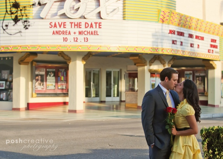 Save the Date at Fox Theater, Bakersfield engagement photography