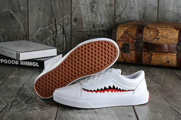 2350df2479172f Vans X Bape 17SS White Shark Mouths Tooth Old Skool Skate Shoe Vans For  Sale  Vans