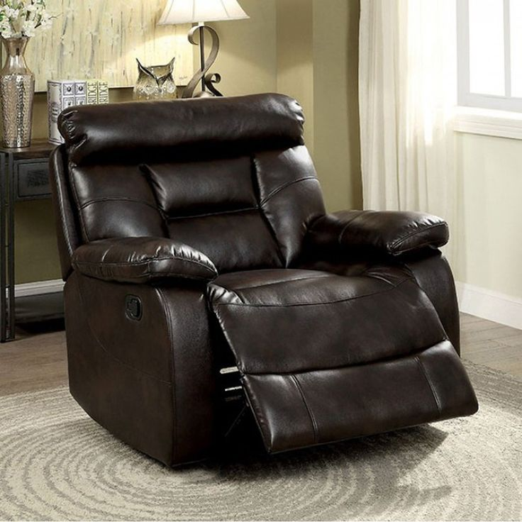 Benzara Lakyn Transitional Glider Recliner, Dark Brown Finish, Size Standard (Upholstered)