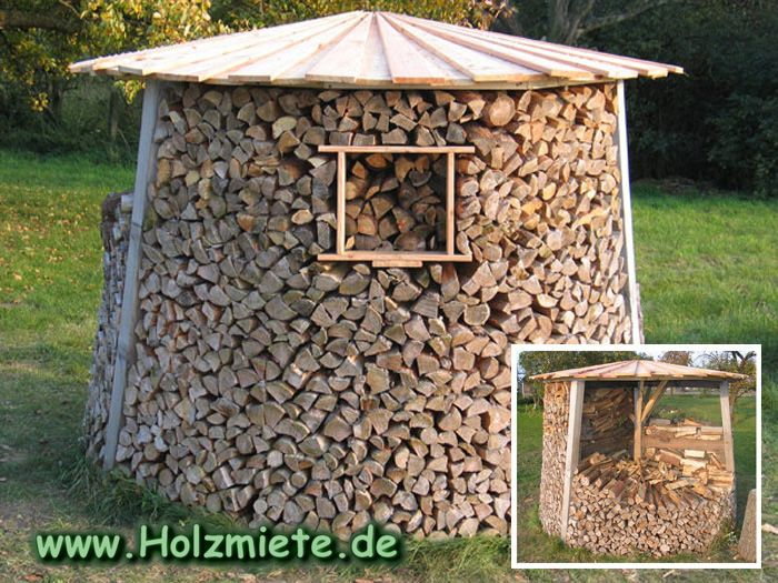 Ideal für Kleinverbraucher die dreigeteilte Holzmiete zur teilweisen Entnahme von Brennholz