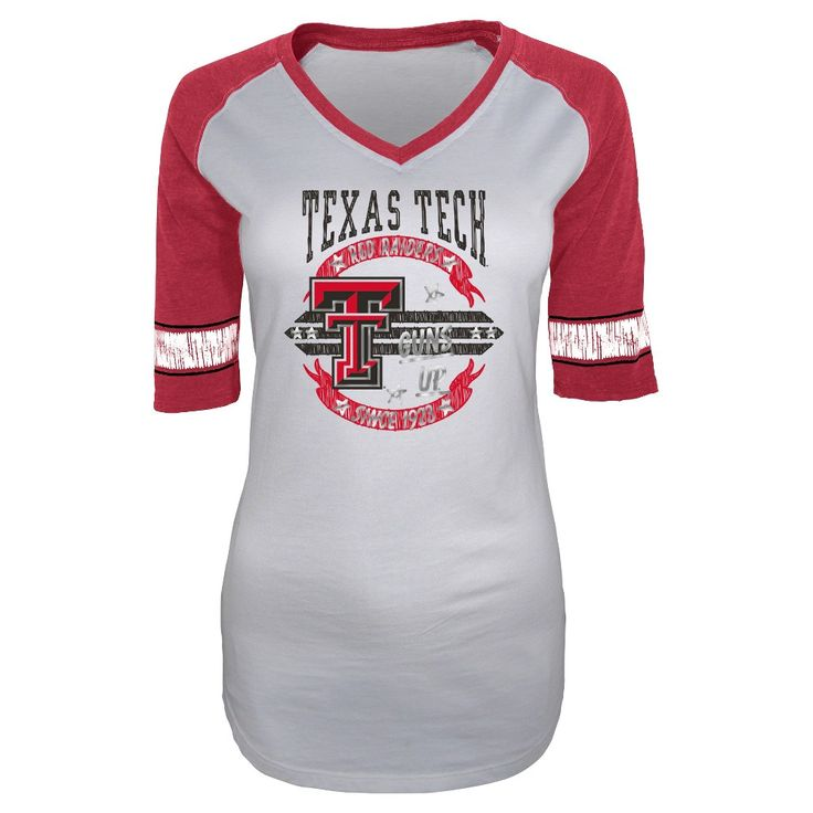 NCAA Texas Tech Red Raiders Women's Burnout 3/4 Sleeve T-Shirt - M, Multicolored