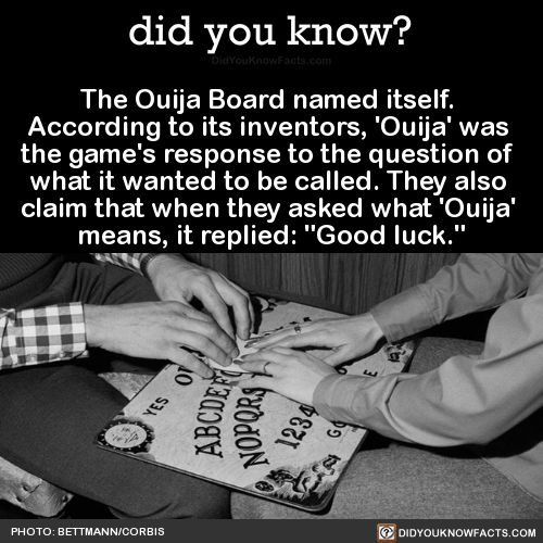 "The Ouija Board named itself. According to its inventors, 'Ouija' was the game's response to the question of what it wanted to be called. They also claim that when they asked what 'Ouija' means, it replied: ""Good luck."" Source"