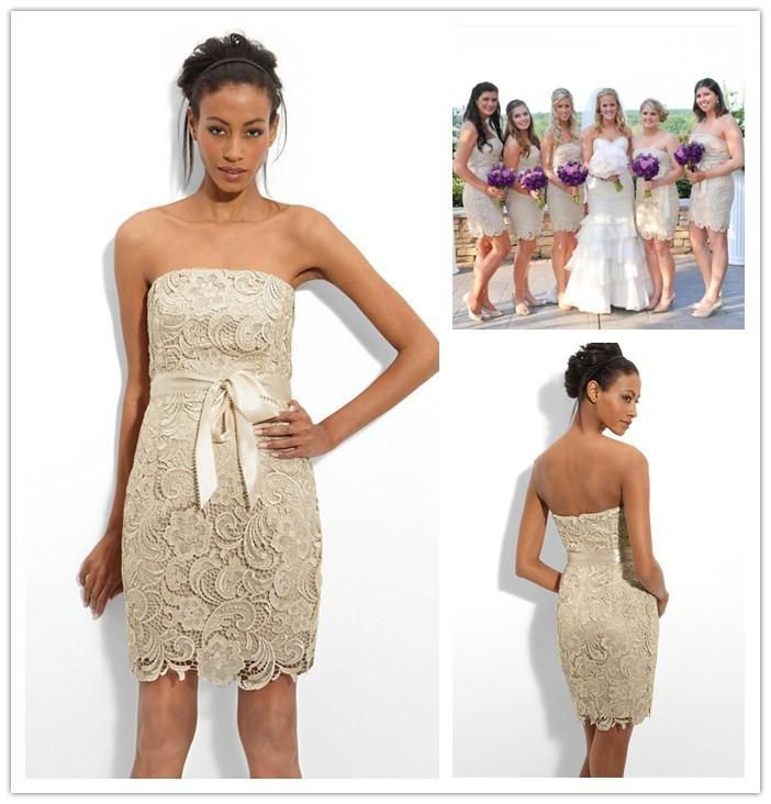 Bohemian Bridesmaid Dresses Elegant Sheath Lace Bridesmaid Dresses 2015 Adrianna Papell Strapless Short Gold Bridesmaid Gowns With Ribbon Women Formal Cocktail Dresses Bridesmaids Dresses Australia From Caradress, $123.57| Dhgate.Com