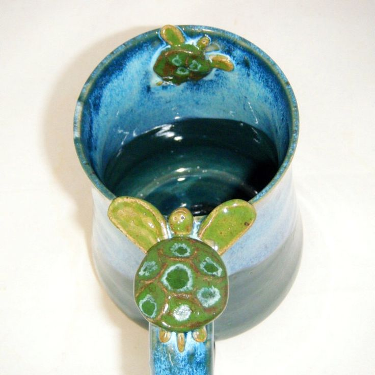 Sea Turtle Mug with Baby Turtle in Ocean Blue and Spruce Green by claydogstudio on Etsy https://www.etsy.com/listing/207328916/sea-turtle-mug-with-baby-turtle-in-ocean
