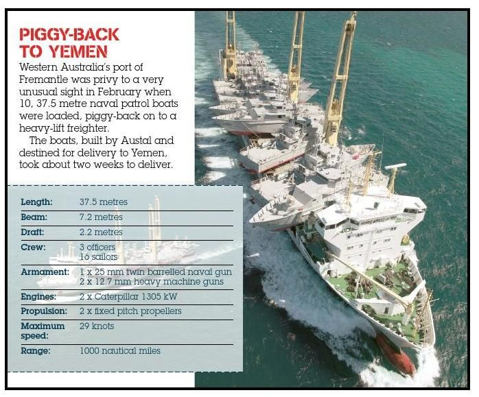 Aussie-built patrol boats headed for Yemen. Published in issue #6, June 2005