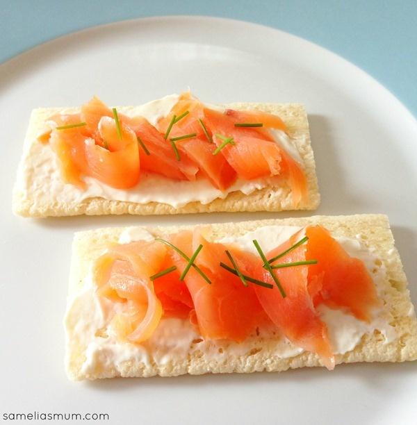 Cruskits with Cream Cheese and Smoked Salmon