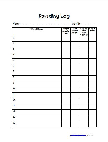 Free printable reading logs for 4th grade reading logs for 4th grade reading log template