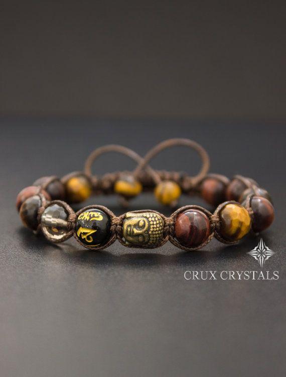 Father's Day Gift Idea Buddha Red & Brown Tigers Eye Beaded Bracelet Prosperity Gemstone Shamballa Bracelet Beaded Macrame Tibetan Mantra Om