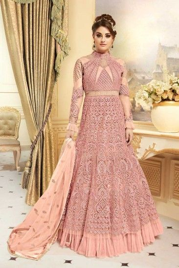 64586078a9e  Raya  Dresses 2018 - Gorgeous Net Anarkali Gown In Newyork Pink Color With Resham  Embroidered - LSTV0035