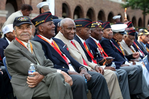 Veteran Montford Point Marines attend their Congressional Gold Medal ceremony. Under hazy skies Thursday, the Marine Corps honored more than 400 African-American Marines, many of whom served during World War II and are now well into their 80s. The men went to a segregated boot camp, called Montford Point, and served in all-black units.