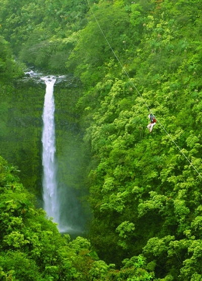 The Alaska Falls zip line course on the big island of Hawaii. Ive been zip lining in the redwoods at Sonoma Canopy tours in Occidental and had a blast but this would be amazing! juliarilla