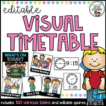 This visual timetable includes over 120 various daily classroom activities and will assist you in visually displaying an outline for the school day so that your children will be able to keep track of their day. It also comes with clock faces (digital and analogue) for you to display beside each activity so that your students will know what time each activity begins and ends.