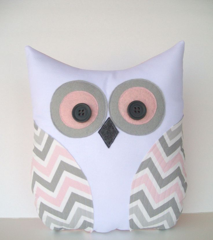 Adorable owl pillow decorative grey pink white chevron pillow, zigzag, nursery, child's room pillow decor.