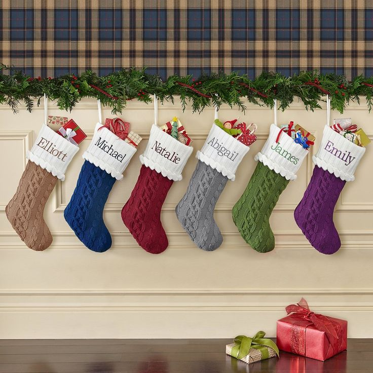 *New*– Cable Knit Stocking There is just something warm and comforting about a classic knit Christmas stocking. It is simple in design yet so elegant in look. Polyester. http://kittykatkoutique.com/new-personalized-christmas-stockings-2015/
