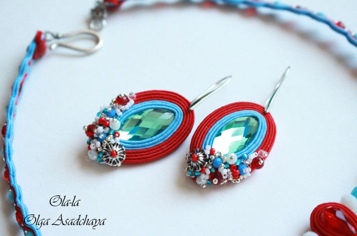 """necklace and earrings """"coral reef"""" soutache, rhinestone jewelry, crystal beads, Japanese beads, metal accessories"""