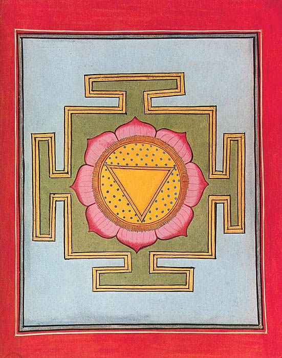 Yoni yantra, Central triangle symbolizing the divine womb on a starry background surrounded by lotus petals, symbol of the emerging universe. The city walls represents the human body and the limitations of the earthly world, all set in an azure void of non-being. Rajasthan, India, 19th century