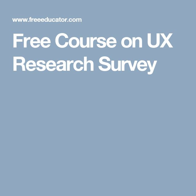 Free Course on UX Research Survey