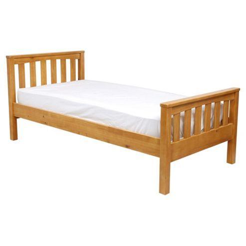 Harvey Single Wooden Bed Frame, Natural Pine/Oak Stain