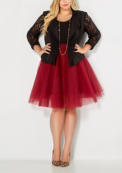 Plus Burgundy Tulle Ballerina Skirt | rue21