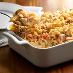 No Yolks® noodles provide the perfect base for this comforting chicken casserole with fresh vegetables and herbs. No other noodle will cook up as smooth, firm and delicious.