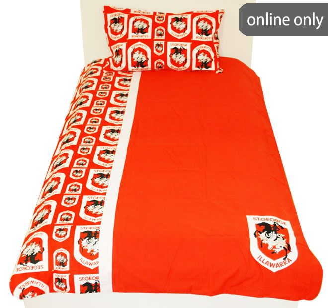 NRL Team Logo Quilt Cover Set and Accessories Range St George Illawarra Dragons