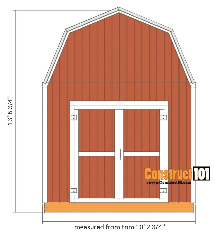 10x12 shed plans -gambrel shed - front view