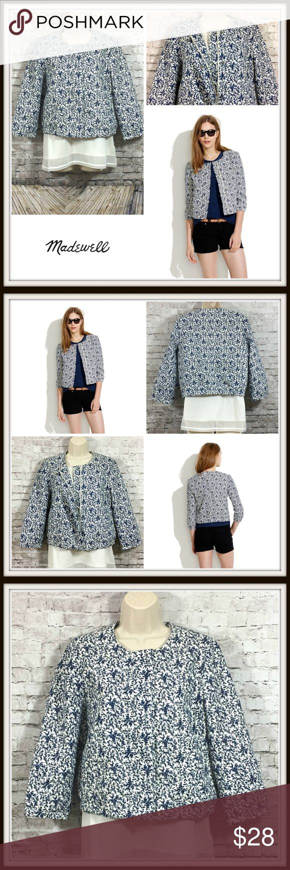 """🍒 Madewell Blue Bird Floral Zip-Up Jacket 🍒 Madewell Blue Bird Jacket 