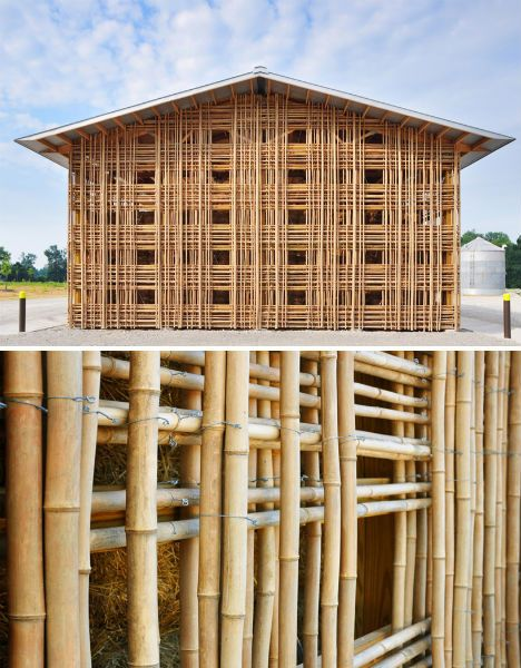 This geometric bamboo structure is not located in Asia or in the tropics, but in the rather unexpected locale of Goshen, Indiana. American architecture practice De Leon & Primmer created the Mason Lane Farm Operations Facility as their entry into the 2010 World Architecture Festival. It houses farm equipment, hay and other stored goods. The bamboo stalks were laid out in a lattice grid fashion and assembled using galvanized rebar wire ties, providing perforated walls that let the wind dry…