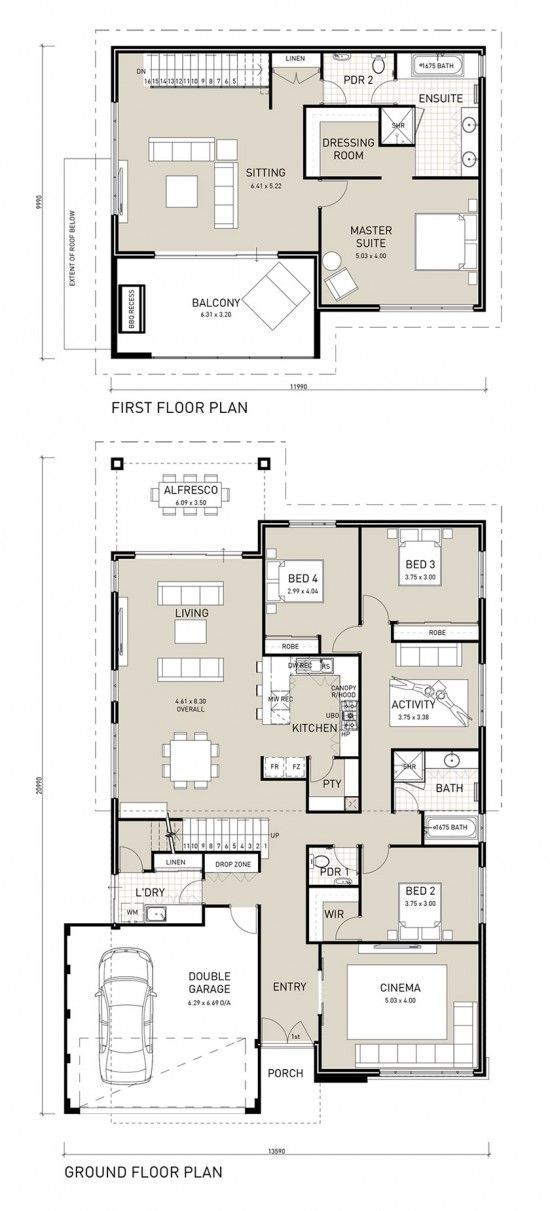 Double storey homes plans kitchen upstairs - Home design and style