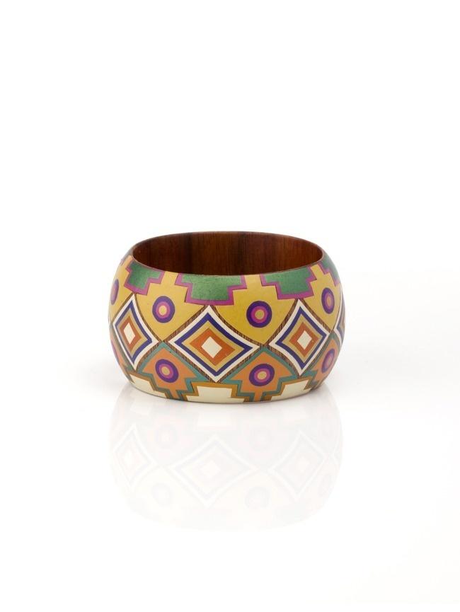 Gold geometric wood bangle decorated with mopa-mopa resin #Coachella #2013