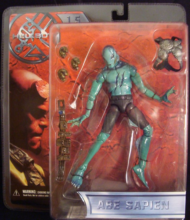 HELLBOY-1.5-ABE SAPIEN-BATTLE DAMAGED-SAMMAEL EGGS-UNDERWATER GEAR-MEZCO-2004-!! #MEZCO
