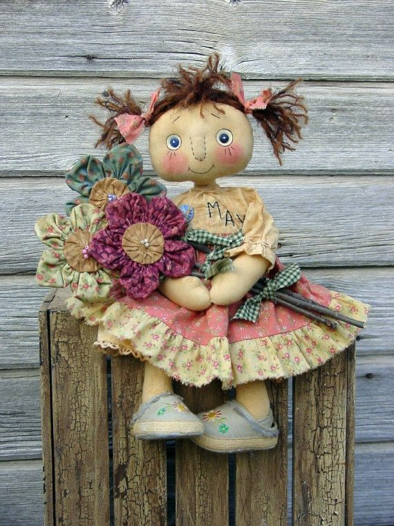 Doll Mays Flowers By Gini Simpson of Cat and The Fiddle Designs